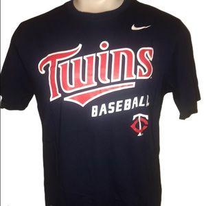 NIKE Navy Minnesota Twins Baseball T-shirt Sz Lg